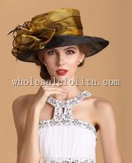 Noble Golden and Black Organza Big Brim Ladies British Hat