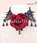Gothic Black Lace Collar Choker Gem Pendant Hotsale Necklace with Big Red Rose