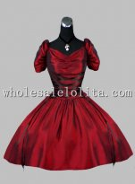New Wine Red Short Vinctorian Inspired Gothic Party Dress