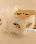 Party Braided Half Face Lace Masquerade Mask with Flower