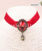 Red Velvet Vintage Royal Gothic Women's Collar Choker Copper Heart Pendant Necklace