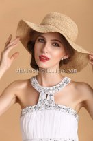 British Natural Raffia Straw Ladies Big Brim Sun Protection Hat