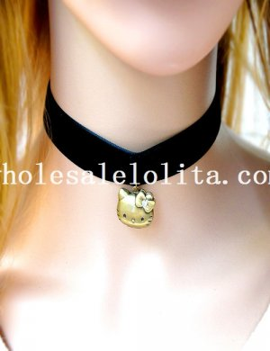 Handmade Fashion Black Velvet Collar Choker Necklace with Hello Kitty Pendant