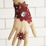 Vintage Lace Bracelet and Ring Burgundy Bracelet