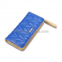 Luxury Designer Famous Brand Carteras Long Clutch Card Holder Ladies Women Wallets Fashion Brief Blue Zipper Lady Long PU Purse