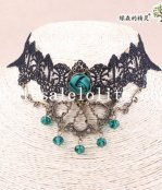 Elegant Black Lace Collar Choker Green Gem Pendant Hotsale Necklace