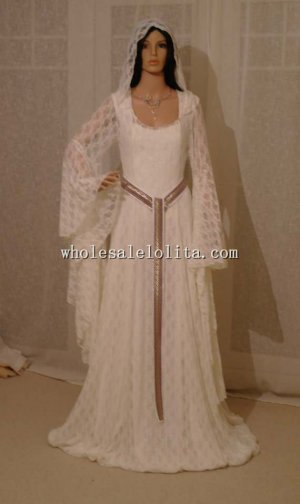 Elven Ivory Lace Dress with Hood Comicon Renaissance Medieval Handfasting Wedding Custom Made