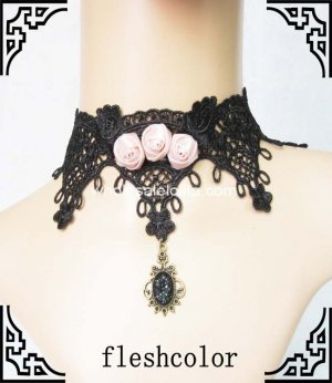 Rose Satin Black Lace Gothic Dress Up Necklace with Crystal