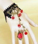 Retro Bronze Black & Red Flower Rattan Elf Crystal Lolita Bracelet