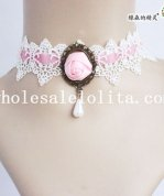 Pink Velvet White Lace Collar Choker Pendant Necklace