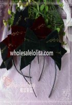 Christmas Morning Big Bow Velveteen KC Lolita Headband