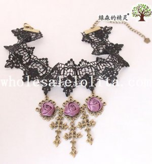 Graceful Vintage Gothic Black Lace Collar Choker Pendant Necklace with Purple Rose