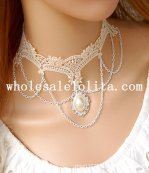 Beautiful White Lace Collar Choker Pearl Pendant Chain Necklace for Gift