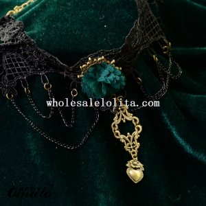 Vintage Lolita Black Lace Collar Choke Pendant Chain Necklace