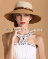 British Wide Brim Paper Straw Color Ladies Sun Protection Hat