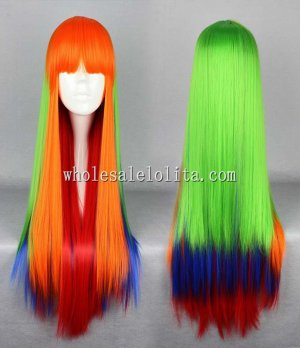 Japanese Harajuku Lolita Wig Green/Blue/Orange Mix Long Straight Hair