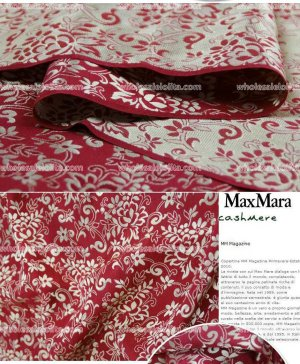 High-End Purplish Red Floral Jacquard Silk Fabric