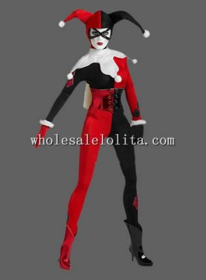 Black and Red Joker Cosplay Costume for Venice Carnival Funny Performance Clothing