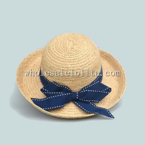 British Natural Raffia Straw Bow Ladies Bowler Hat Sun Protection Hat