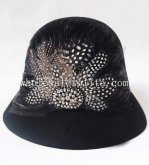 British Style Black Wool Feather Ladies Cloche Hat