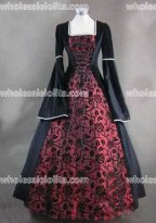Black and Wine Red Floral Pattern Medieval Renaissance Costume