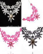 Fashion Lace Collar Choker Flower Necklace Pendant for Prom