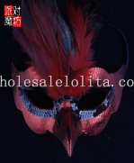 Red Glitter Half Face Feathered Masquerade Mask with Blue Eyelashes