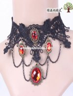 Charm Gothic Black Lace Collar Choker Gem Pendant Necklace for Women's Gift