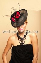 Gothic Black and Red Feather British Ladies Disc Hat