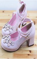 Pink Cross Ankle Straps 5cm Chunky Heel Flower Lolita Shoes
