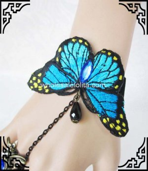 Retro Gothic Blue Enchantress Butterfly Bracelet & Ring