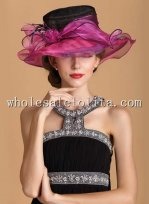 Hot Sale Plum and Black British Big Brim Kentucky Derby Hat