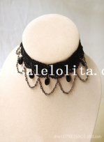 Graceful Black Gem Lace Chain Collar Choker Necklace for Women