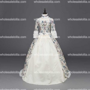 Victorian Gothic Fairy Princess Brocade Ball Gown Dress Reenactment Theater Costume