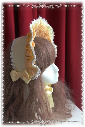 Sweet Light Yellow Victorian Era Bonnet Lolta Headdress