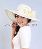 2014 Summer Pink Paper Straw Flower Wide Birm Ladies Sun Hat