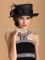 British Style Black Bow Flax Ladies Dress Hat
