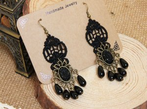 Black Lace Ladies Pearl Lace Earrings