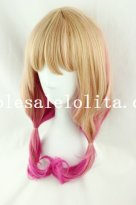 Harajuku Flaxen/Pink Mix-color Heat Resistant Anime Cosplay Long Curly Hair Wig