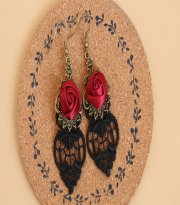 Goghic Red Rose Lace Lolita Earrings EH-41