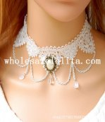 Handmade Gothic White Lace Collar Choker Pearl Pendant Chain Necklace for Women's Gift