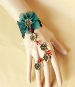 Retro Court Gothic Peacock Green Flower Black Lace and Red Bracelet & Ring
