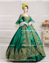 Classic 18th Century Marie Antoinette Inspired Dress Wedding Masquerade Gown Reenactment GREEN