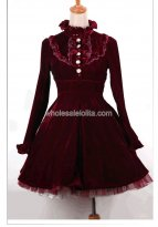 Vintage Burgundy Velvet Royal Court Autumn Lolita Dress