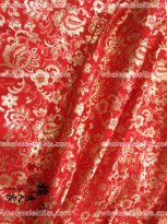High-grade Tapestry Royal Gorgeous Red Flower Brocade Fabric