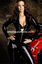 New Cool PVC Front Zipper Club Jumpsuits Catsuit