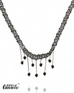 Handmade Hotsale Black Lace Gem Pendant Lace Necklace