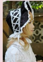 Sweet Black Cotton Wide-Brim Lolita Hat