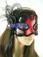 Temptation Red See-through Lace Leather Masquerade Mask