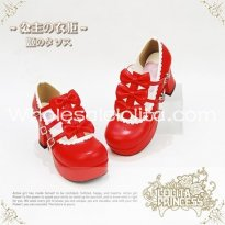 Sweet Red Bows PU Leather Chunky Heel Round Toe Lolita Shoes